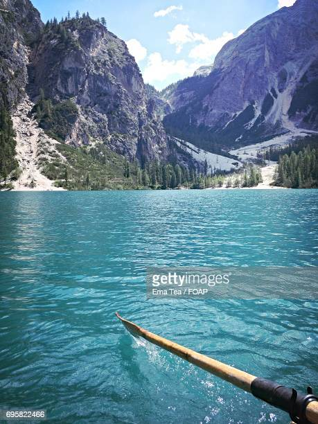 scenic view of lake - pragser wildsee stock pictures, royalty-free photos & images