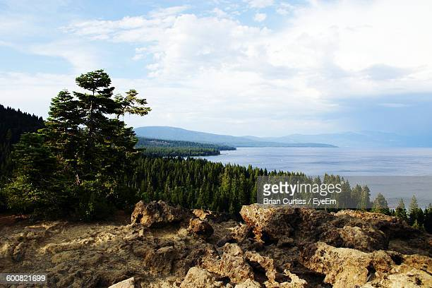 Scenic View Of Lake Tahoe Against Cloudy Sky