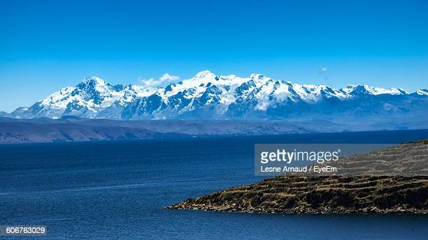 Scenic View Of Lake Titicaca Against Clear Blue Sky