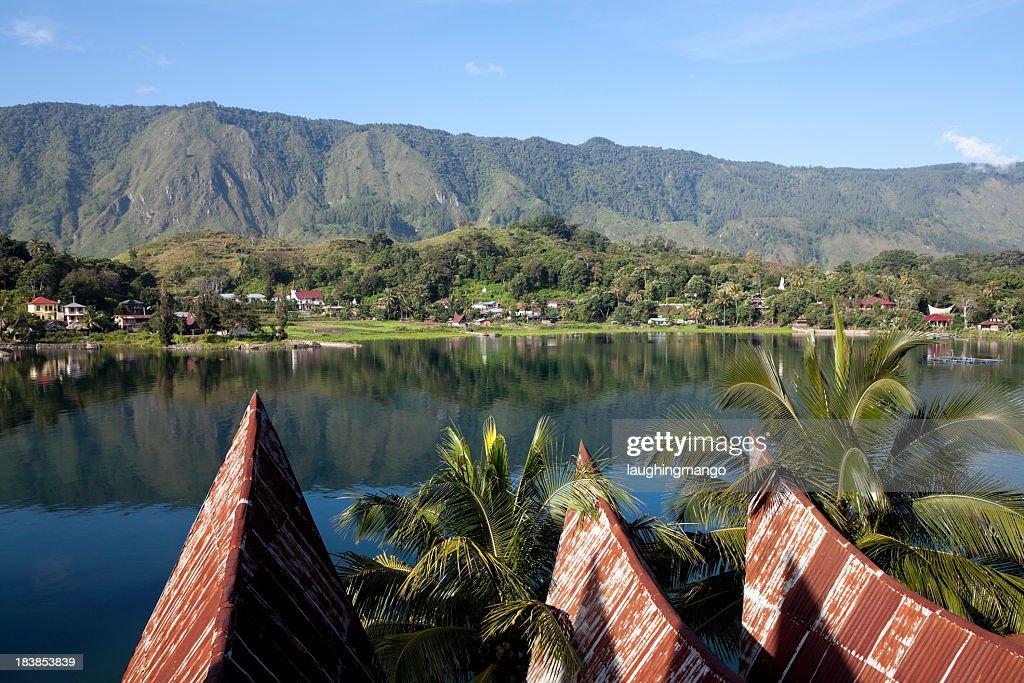 Scenic view of lake toba samosir in Sumatra, Indonesia : Stock Photo