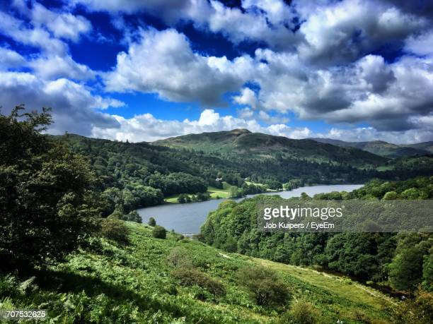 scenic view of lake with mountains in background - ambleside stock photos and pictures