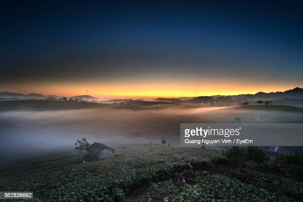scenic view of land against sky during sunset - son la stock pictures, royalty-free photos & images