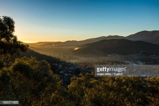 scenic view of landscape against clear sky during sunset - victoria australia stock pictures, royalty-free photos & images