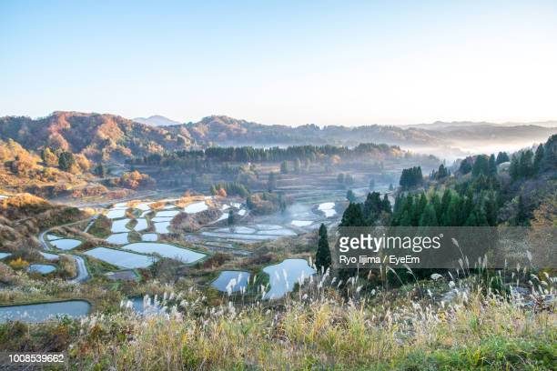 scenic view of landscape against clear sky - 新潟県 ストックフォトと画像