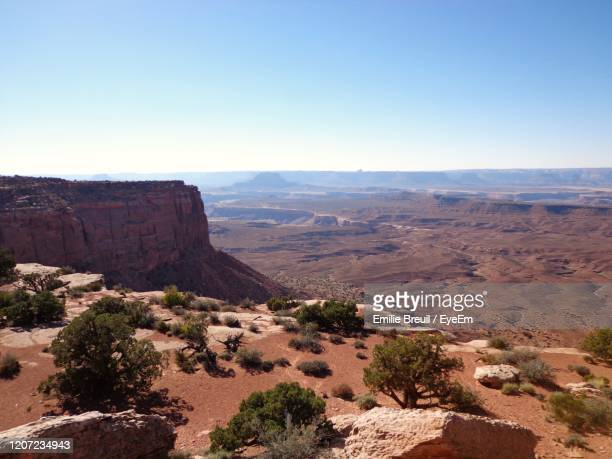 scenic view of landscape against clear sky - canyonlands national park stock pictures, royalty-free photos & images