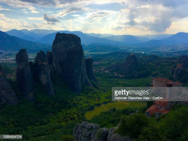 scenic view of landscape against cloudy sky - thessaly stock pictures, royalty-free photos & images