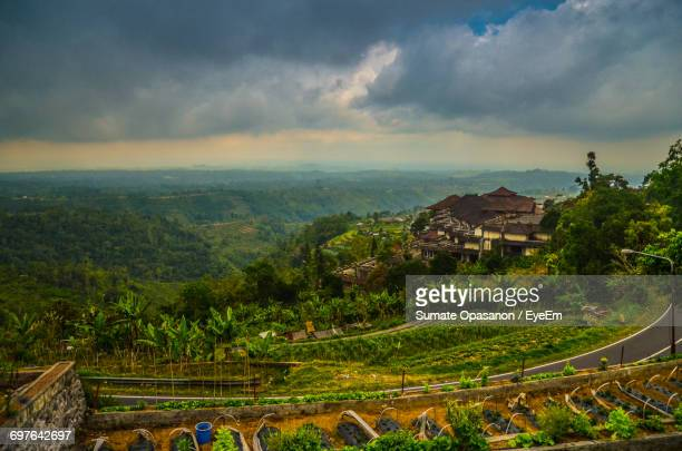 scenic view of landscape against cloudy sky - ubud district stock pictures, royalty-free photos & images
