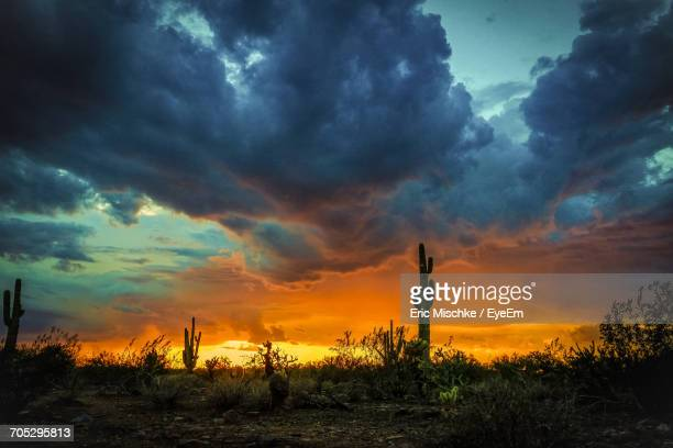 scenic view of landscape against cloudy sky - scottsdale arizona stock pictures, royalty-free photos & images
