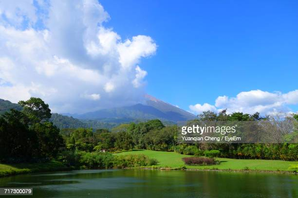 scenic view of landscape against cloudy sky - guatemala city stock pictures, royalty-free photos & images