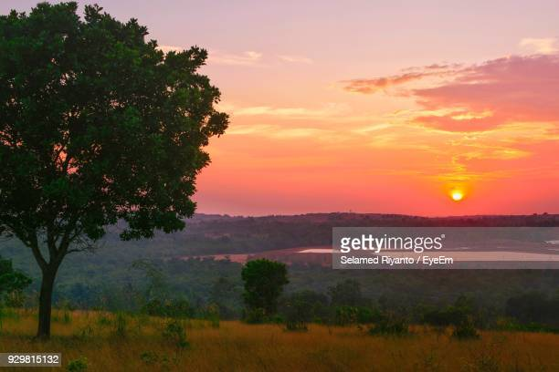 Scenic View Of Landscape Against Sky At Sunset