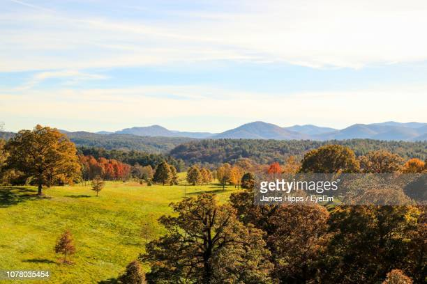 scenic view of landscape against sky during autumn - asheville stock pictures, royalty-free photos & images