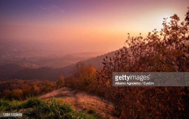 scenic view of landscape against sky during sunset on asolo hills - treviso italy stock pictures, royalty-free photos & images