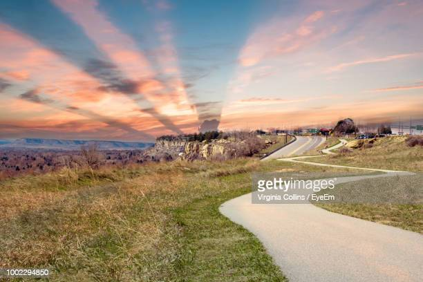 scenic view of landscape against sky during sunset - billings montana stock pictures, royalty-free photos & images