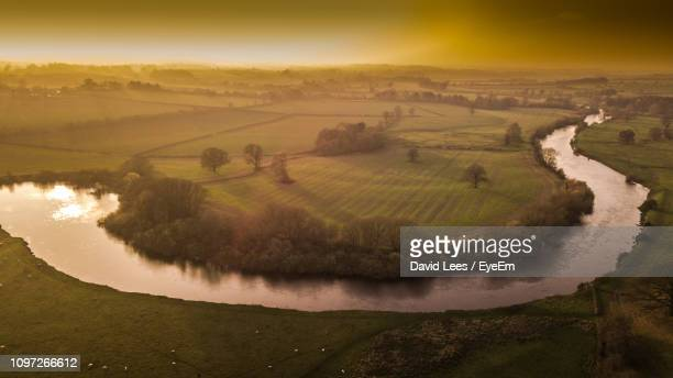 scenic view of landscape against sky during sunset - ironbridge shropshire stock pictures, royalty-free photos & images