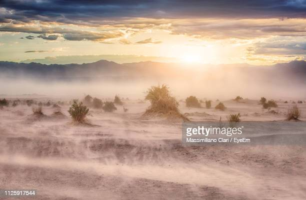 scenic view of landscape against sky during sunset - heat haze stock pictures, royalty-free photos & images