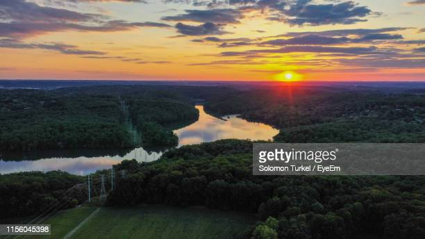 scenic view of landscape against sky during sunset - solomon turkel stock pictures, royalty-free photos & images