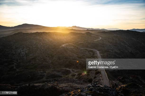 scenic view of landscape against sky during sunset - roses catalonia stock pictures, royalty-free photos & images