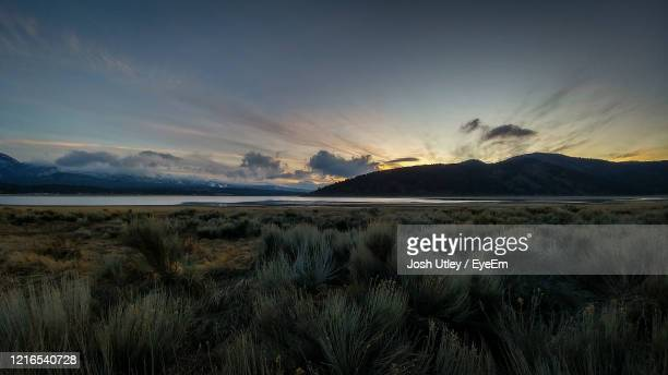 scenic view of landscape against sky during sunset - josh utley stock pictures, royalty-free photos & images