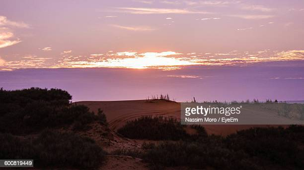 scenic view of landscape against sky during sunset - oran algeria photos et images de collection