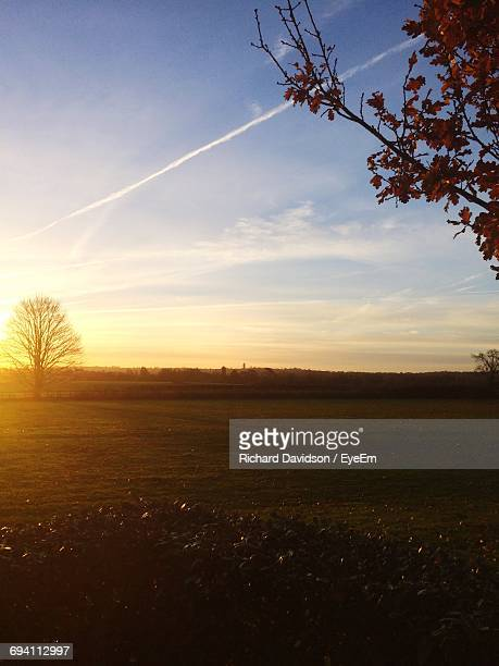 scenic view of landscape against sky during sunset - st. albans stock pictures, royalty-free photos & images