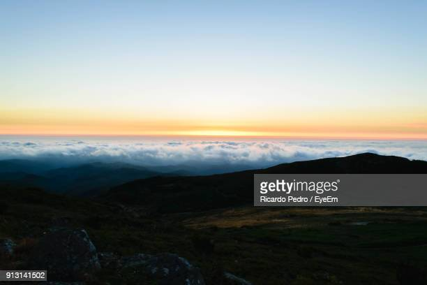 scenic view of landscape against sky during sunset - monchique stock pictures, royalty-free photos & images