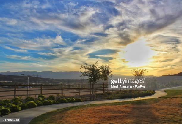 scenic view of landscape against sky during sunset - santa clarita stock pictures, royalty-free photos & images