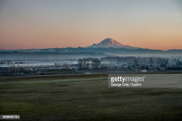 scenic view of landscape against sky during sunset - kent washington state stock pictures, royalty-free photos & images