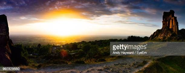scenic view of landscape against sky during sunset - stoke on trent stock photos and pictures