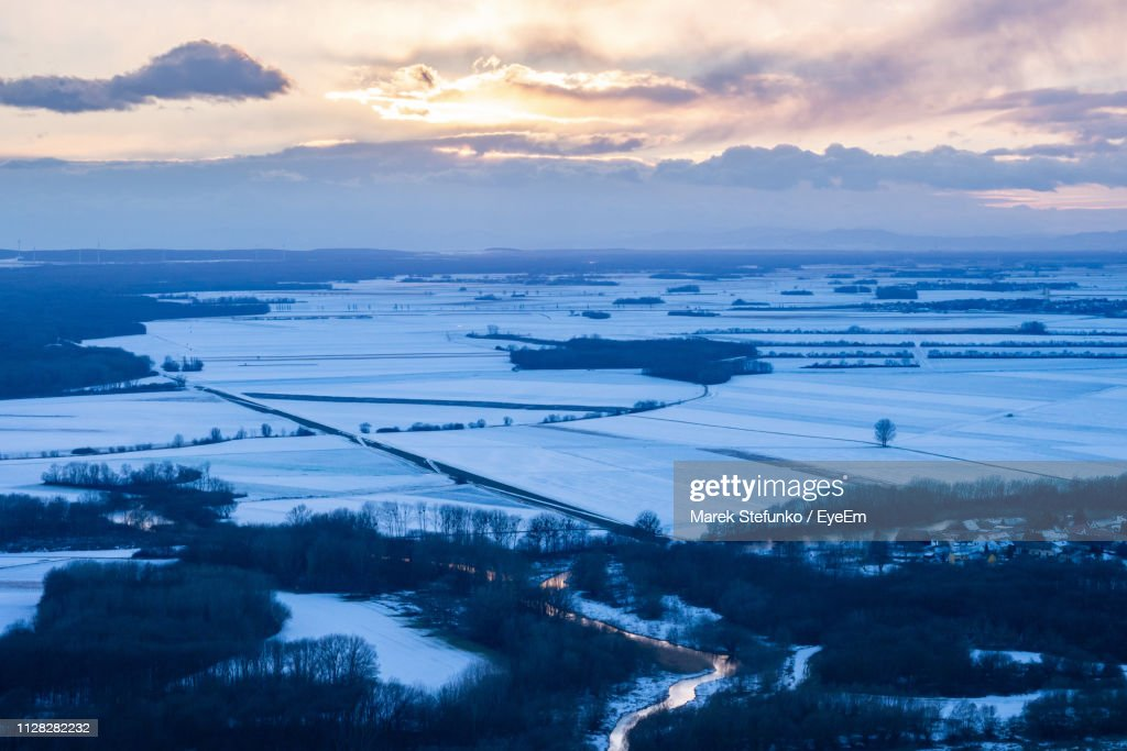 Scenic View Of Landscape Against Sky During Winter : Stock Photo