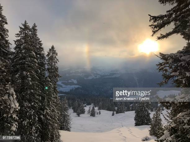 scenic view of landscape against sky during winter - schwyz stock pictures, royalty-free photos & images