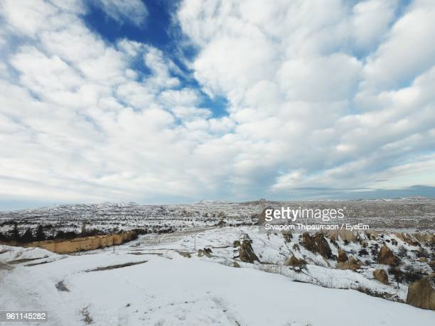 scenic view of landscape against sky during winter - central anatolia stock photos and pictures