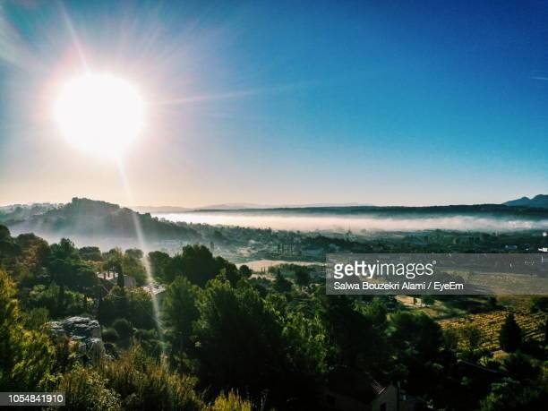 scenic view of landscape against sky on sunny day - aix en provence stock pictures, royalty-free photos & images