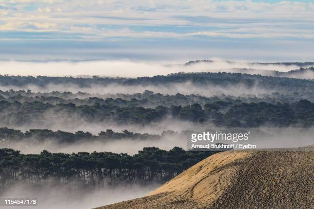 scenic view of landscape against sky - arcachon stock photos and pictures