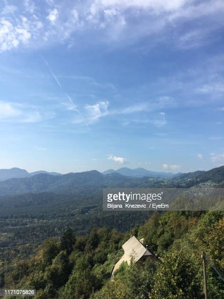 scenic view of landscape against sky - kranj stock pictures, royalty-free photos & images