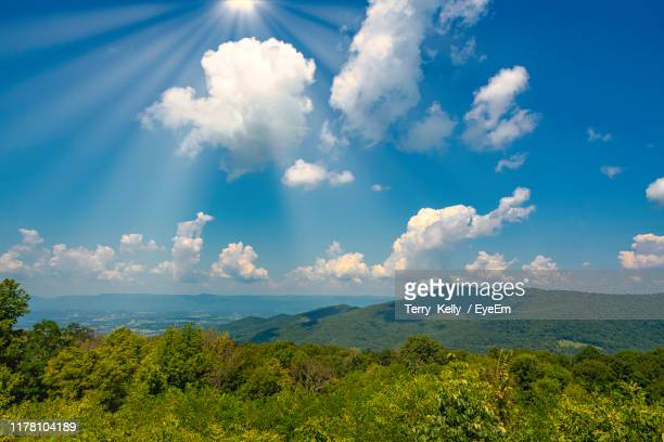 scenic view of landscape against sky - blue ridge parkway stock pictures, royalty-free photos & images