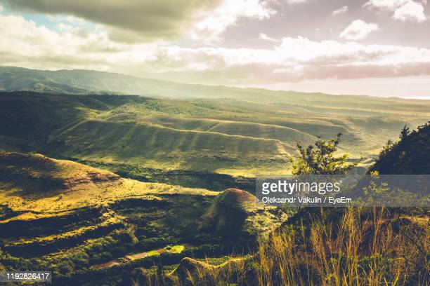 scenic view of landscape against sky - oleksandr vakulin stock pictures, royalty-free photos & images