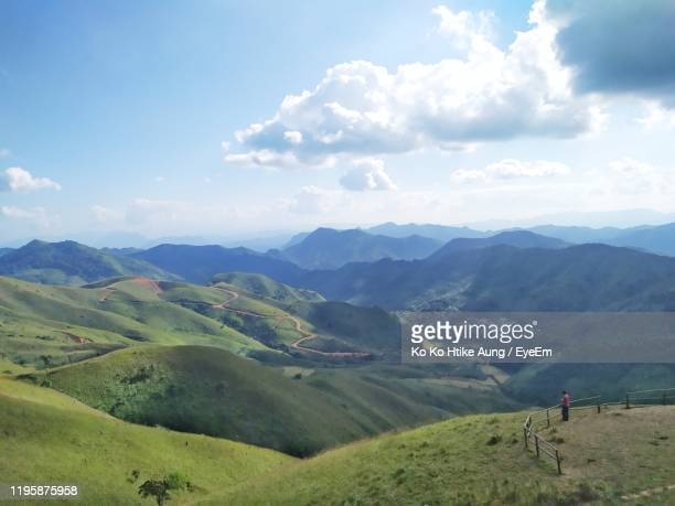 scenic view of landscape against sky - ko ko htike aung stock pictures, royalty-free photos & images