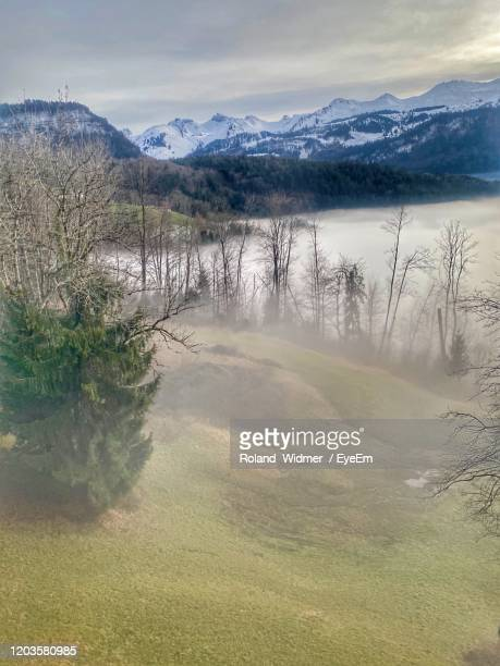 scenic view of landscape against sky - schwyz stock pictures, royalty-free photos & images