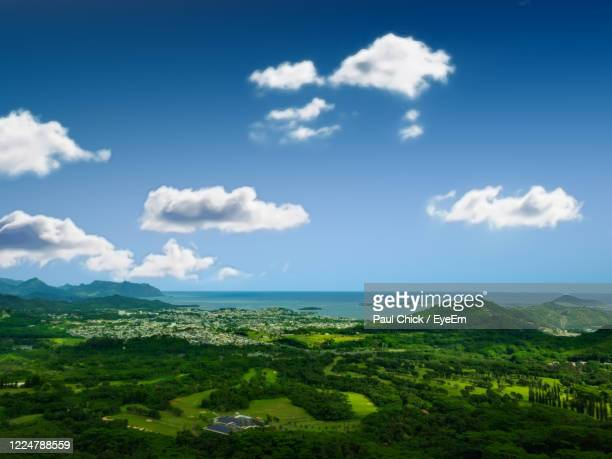 scenic view of landscape against sky - kailua stock pictures, royalty-free photos & images