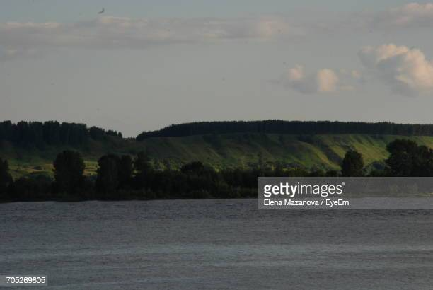 scenic view of landscape against sky - nizhny novgorod oblast stock photos and pictures
