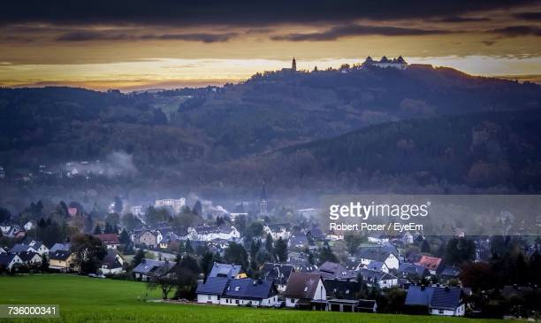 scenic view of landscape against sky - chemnitz stock pictures, royalty-free photos & images