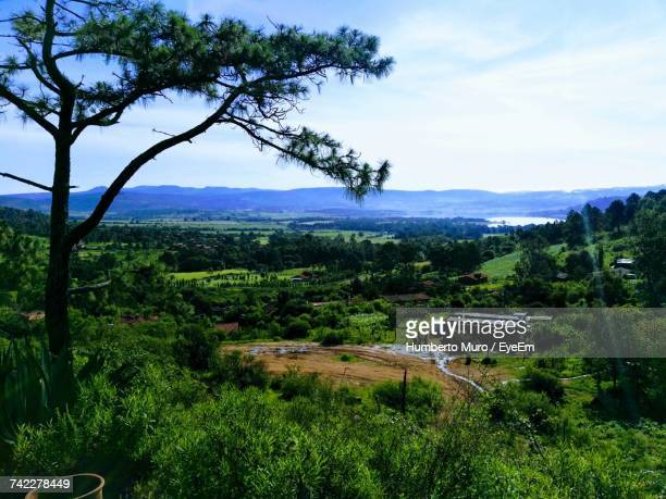 scenic view of landscape against sky - muro stock photos and pictures