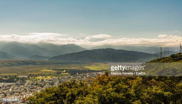 scenic view of landscape against sky - salta argentina stock photos and pictures