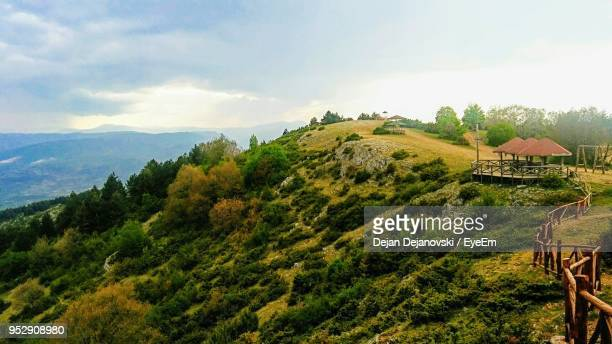 scenic view of landscape against sky - skopje stock pictures, royalty-free photos & images