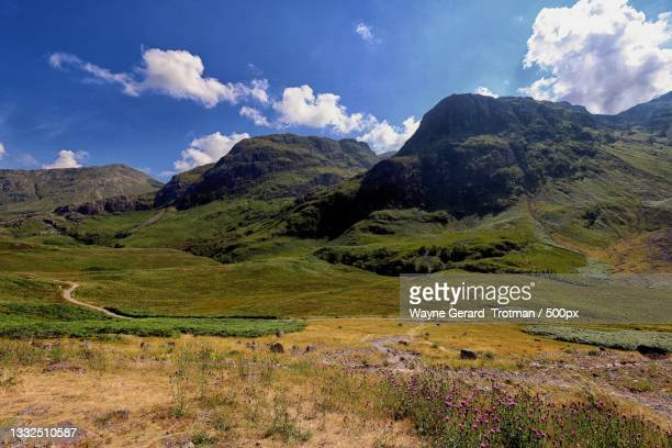 scenic view of landscape against sky,ballachulish,united kingdom,uk - wayne gerard trotman stock pictures, royalty-free photos & images