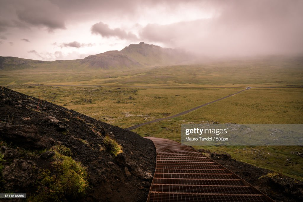 Scenic view of landscape against sky,Western Region,Iceland : Foto stock