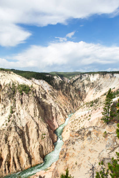 Scenic view of landscape against sky,Yellowstone National Park,Wyoming,United States,USA