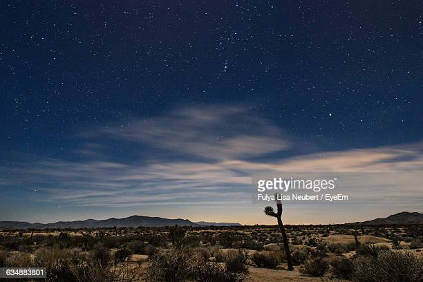 Scenic View Of Landscape Against Star Field At Dusk