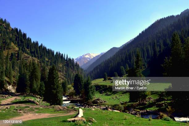 scenic view of landscape and mountains against sky - kyrgyzstan stock pictures, royalty-free photos & images