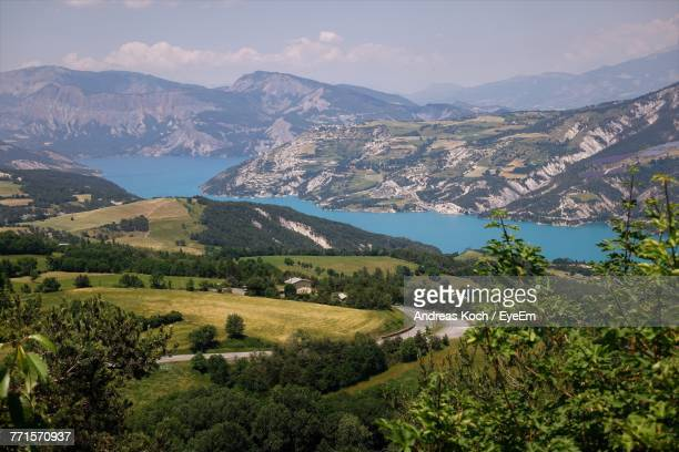 scenic view of landscape and mountains against sky - aix en provence stock pictures, royalty-free photos & images